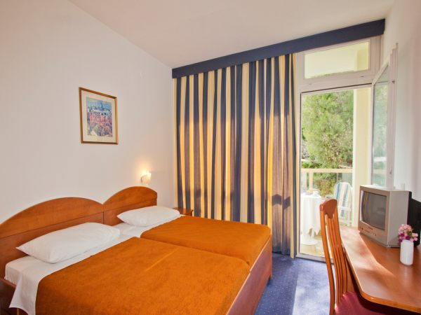 Double room park side with balcony and half board