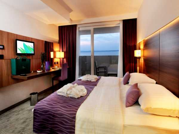 Double room, standard park side with extra bed and half board